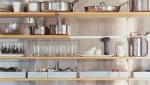 Tips Stylishly Stocking Open Kitchen Shelving