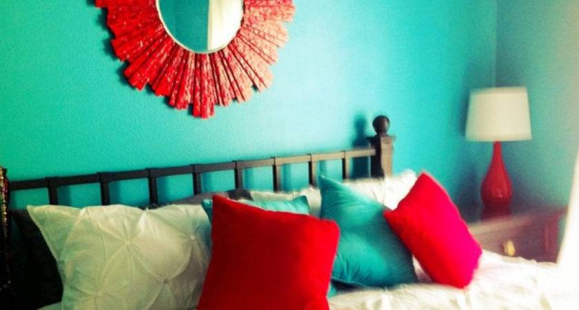 Took Our Teal Turquoise Red Bedroom