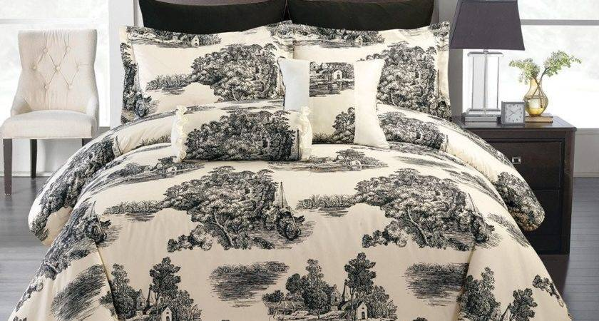 Total Fab Black White Cream Toile Damask Comforters