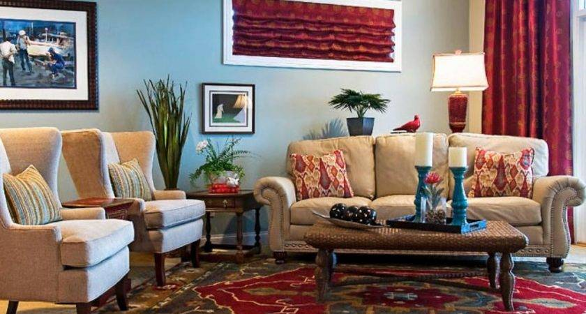 Traditional Floral Carpet Eclectic Living Room