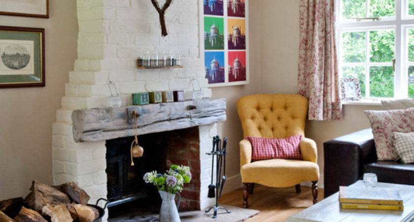 Traditional Living Room Exposed Brick Chimney Breast