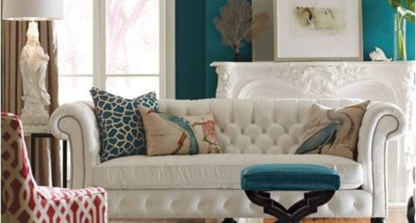 Transitional Livingroom Teal Blue Walls Just Decorate