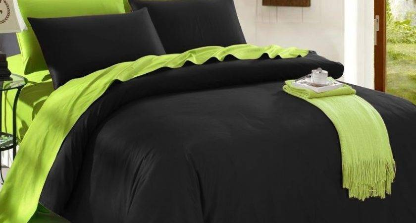 Trendy Black Lime Green Solid Colored Reversible