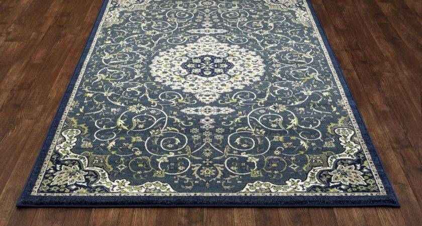 Trident Calligraphy Peacock Blue Rug