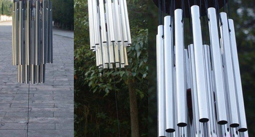 Tubes Silver Church Wind Chimes Outdoor Bells Garden