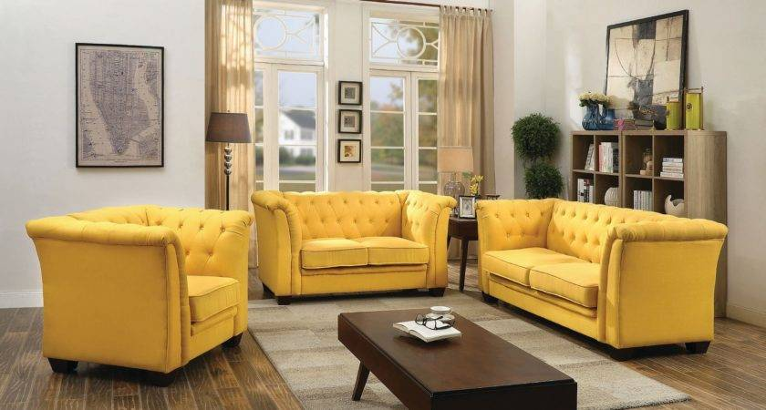 Tufted Living Room Set Yellow Sets