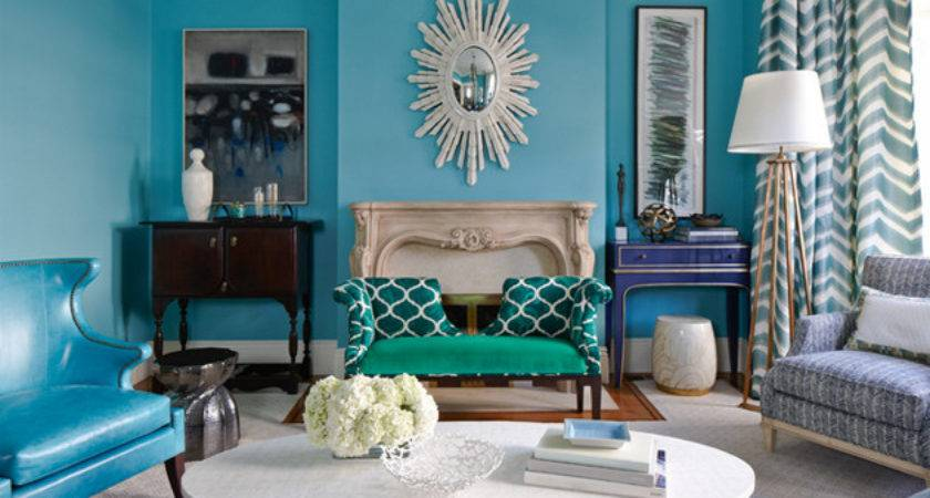 Turquoise Beige Living Room Ideas Modern Colorful