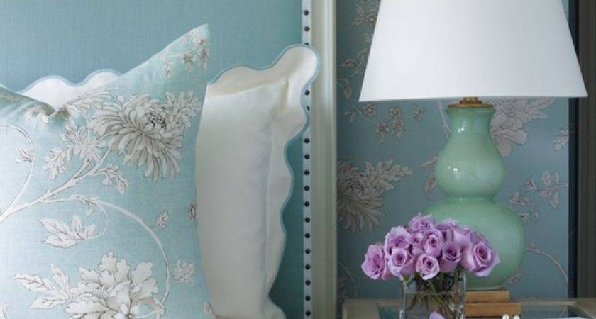 Turquoise Blue Headboard Transitional Bedroom Tobi
