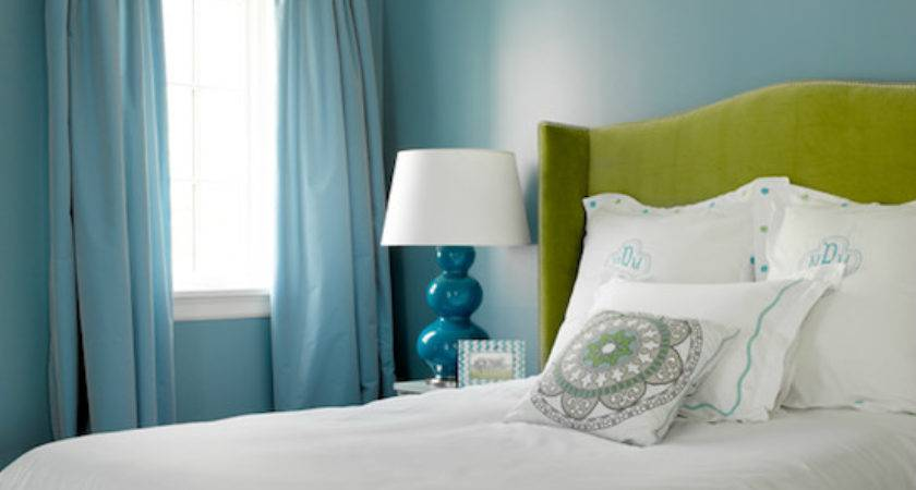 Turquoise Drapes Contemporary Bedroom Graciela