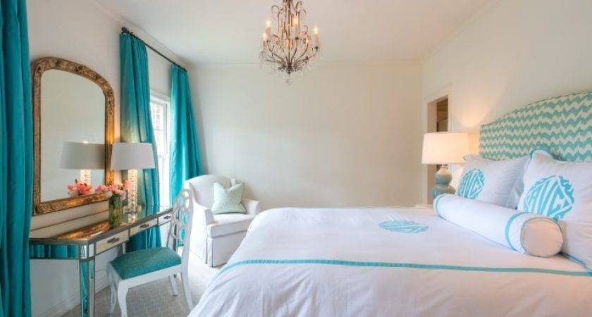 Turquoise Drapes Transitional Bedroom Munger Interiors