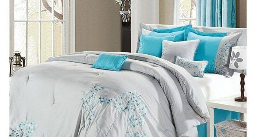 Turquoise Gray Bedding Light Teal