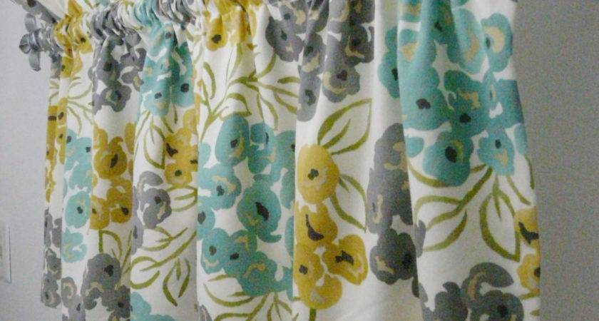 Turquoise Grey Yellow Gold Valance Kitchen