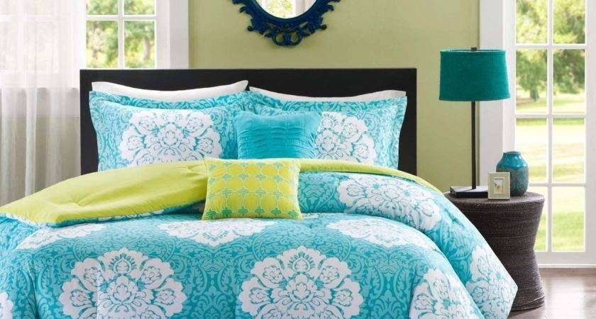 Turquoise Lime Green Bedding Blue