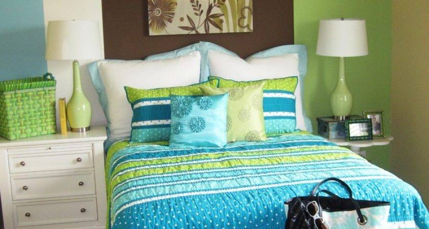 Turquoise Lime Green Bedding Kids Contemporary