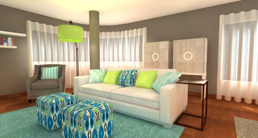 Turquoise Lime Green Living Room Interior Design Ideas