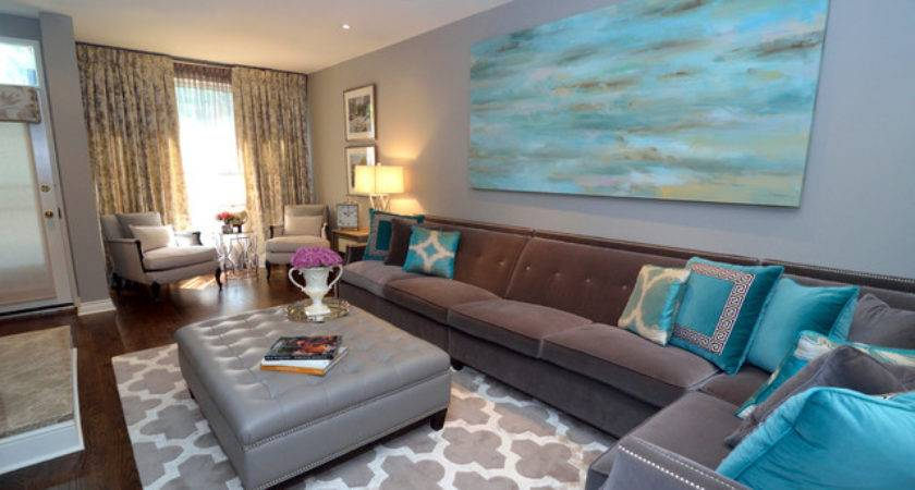 Turquoise Living Room Transitional Other