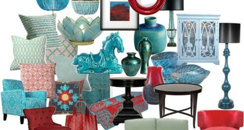 Turquoise Red Home Decor Polyvore