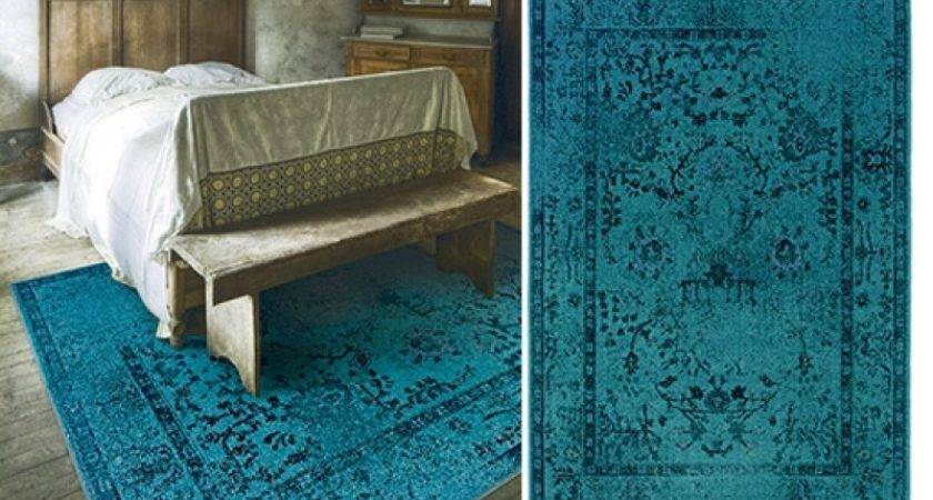 Turquoise Rug Gray Distressed Damask