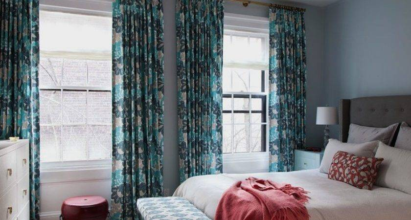 Turquoise Teal Curtains Contemporary Bedroom Cwb