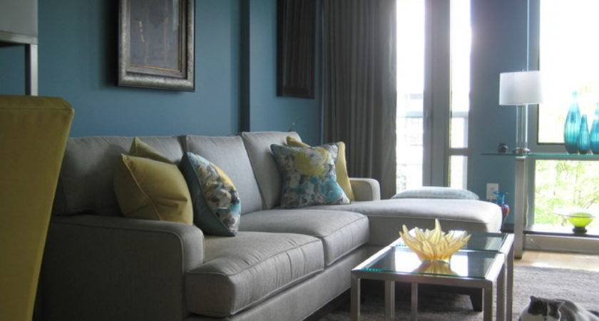 Turquoise Yellow Living Room