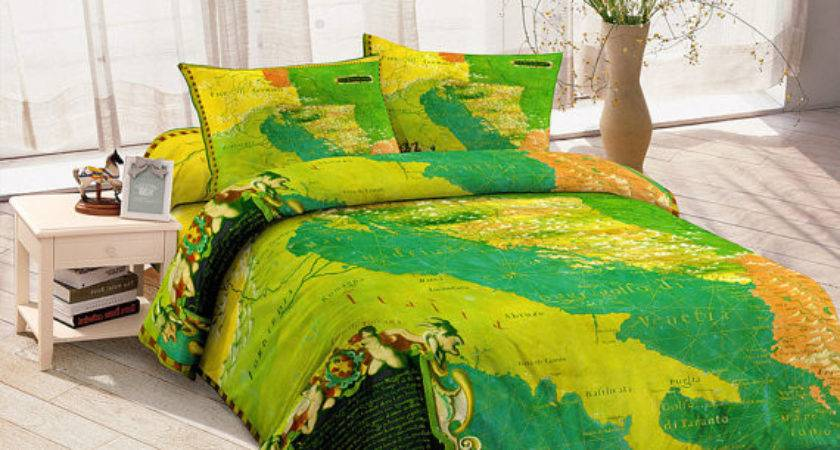 Turquoise Yellow Map Bedding Set Duvet Cover