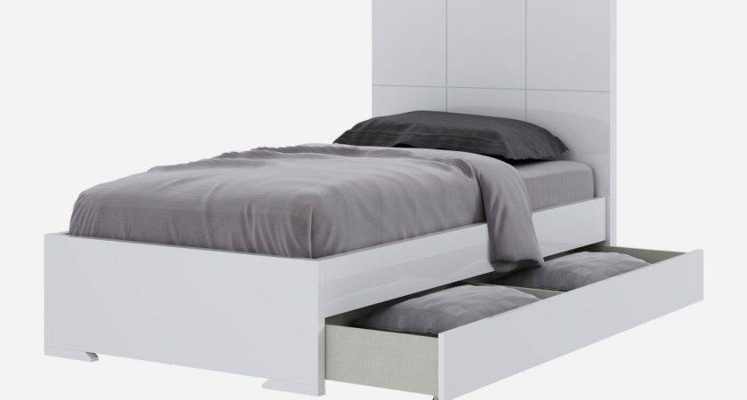 Twin Bed Trundle Box Drawers White High Gloss
