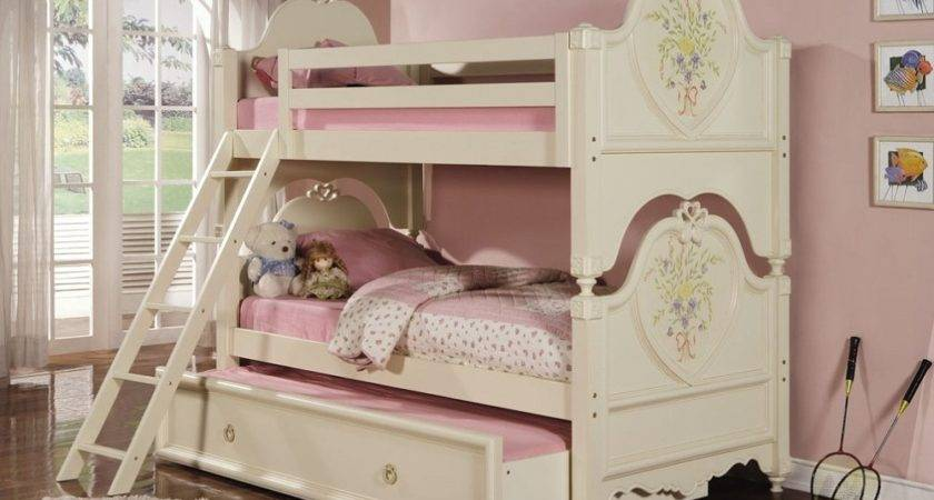 Twin Over Elegant Doll House Cream Bunk Bed Trundle