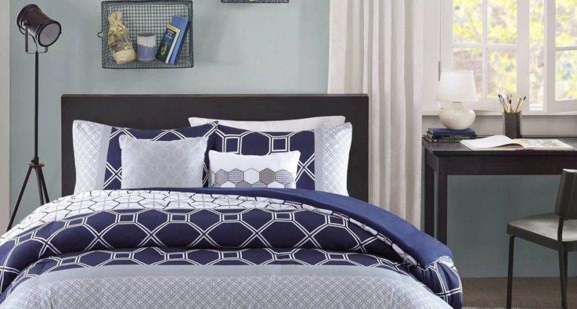 Twin Queen Bed Navy Blue Gray White Geometric