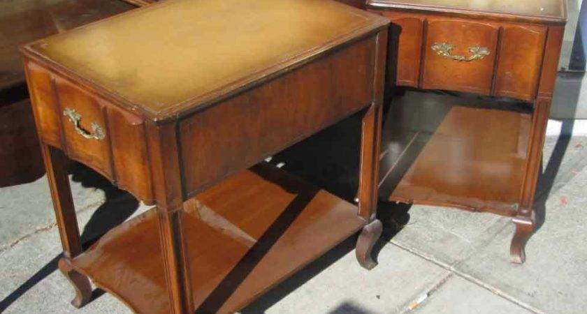 Uhuru Furniture Collectibles Sold Pair Leather Top End