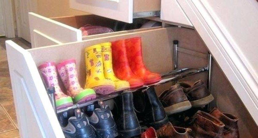 Under Stairs Sliding Shoe Rack Pull Out