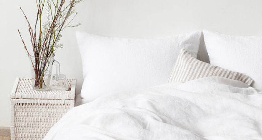 Usa White Stone Washed Linen Bed Set