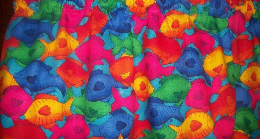 Valance Bright Primary Color Fish Bathroom Sunroom Fabric