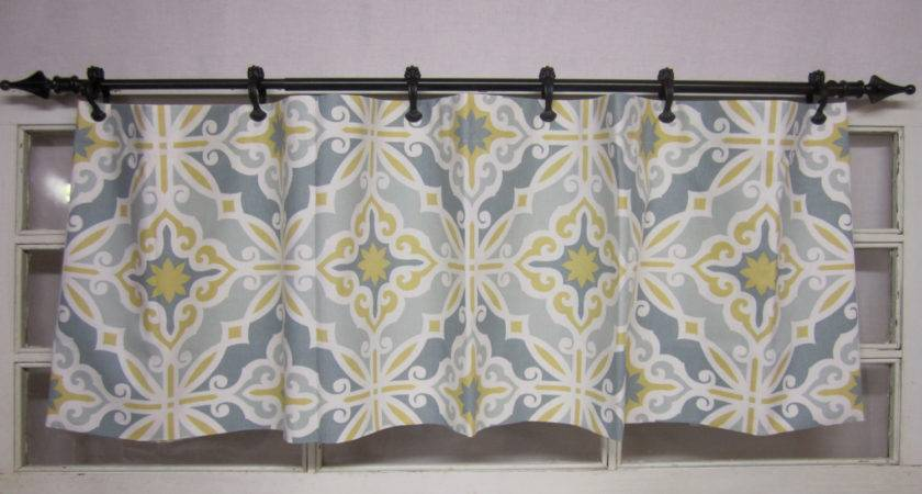 Valence Curtain Valance Yellow Grey Teal Runningwithribbons