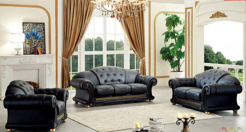 Versace Black Genuine Italian Leather Luxury Sofa Loveseat
