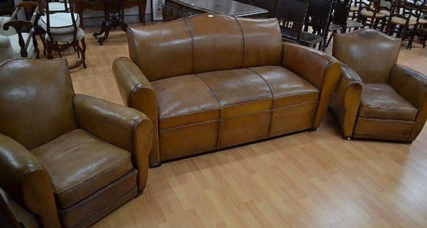 Vintage French Three Piece Brown Leather Lounge Suite