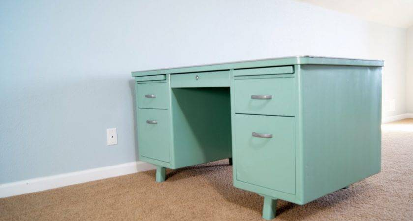 Vintage Metal Army Desk Before After Averie Lane