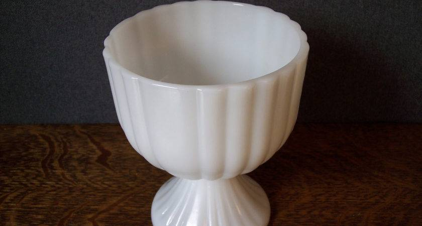 Vintage Milk Glass Pedestal Compote Bowl Centerpiece
