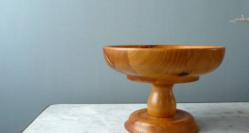 Vintage Wood Fruit Stand Pedestal Bowl Centerpiece