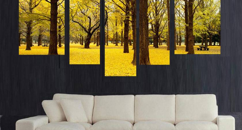 Wall Art Designs Yellow Autumn Scenery