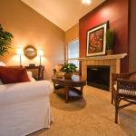 Warm Living Room Nuanced Using Beige Wall Accents Paint