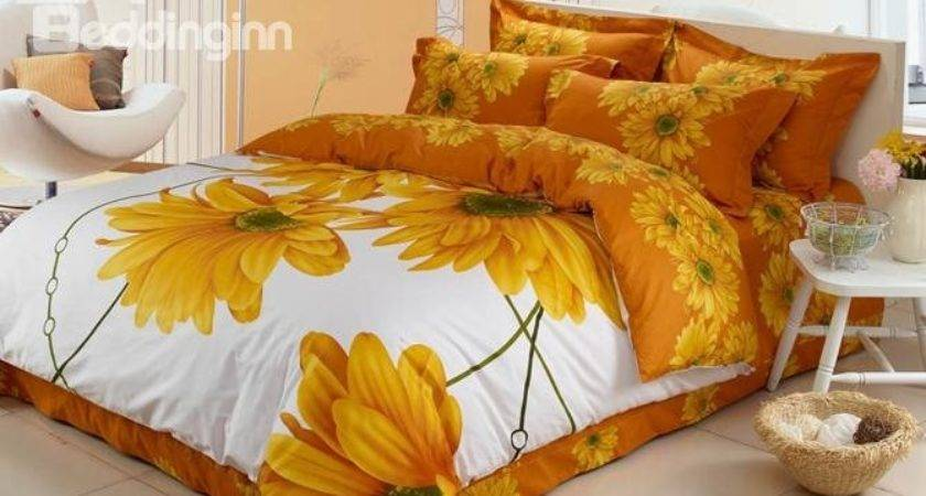 Warmly Bright Yellow Large Flowers Piece Bedding Sets