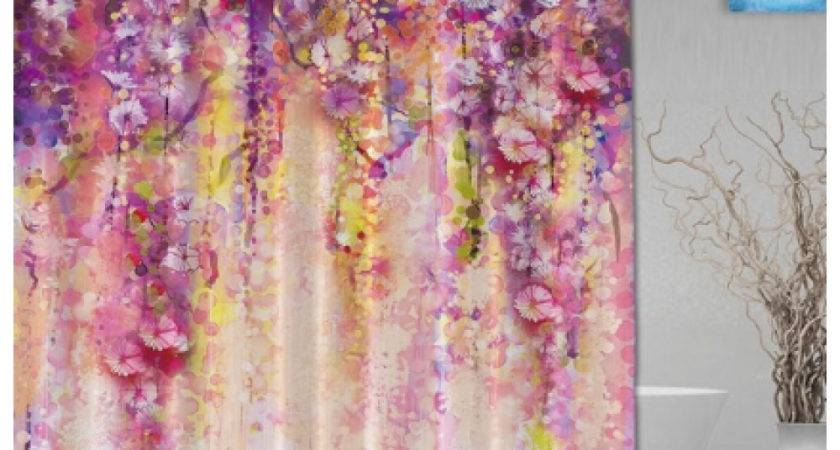 Watercolor Drawing Flower Waterfall Shower Curtain