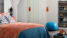 White Bedroom Orange Blue Accents