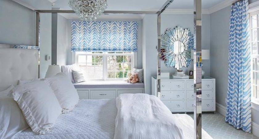 White Blue Bedroom Stainless Steel Canopy Bed