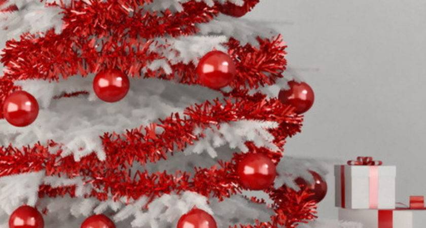 White Christmas Tree Red Ornaments Photos