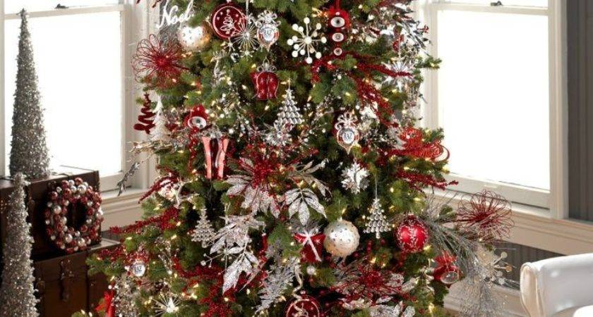 White Christmas Tree Red Silver Decorations