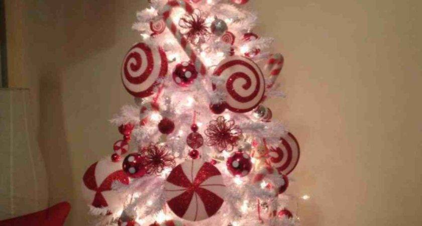 White Christmas Tree Silver Red Decorations