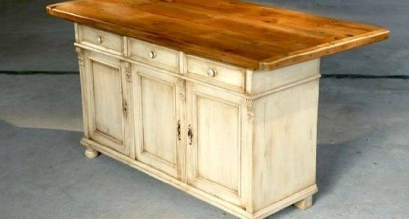 White Country Pine Kitchen Island