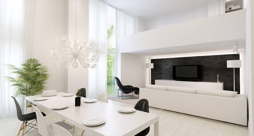White Dining Table Living Area Interior