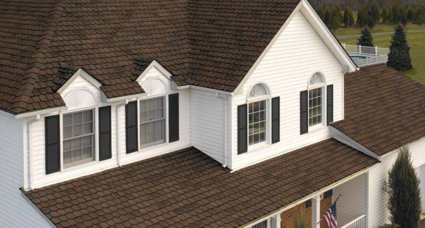 White House Black Shutters Brown Roof Home